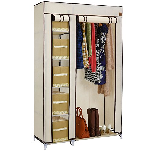 VonHaus Double Fabric Wardrobe – Canvas Effect Clothes Storage Organiser With 6 Shelves & Hanging Rail – Beige Temporary Wardrobe