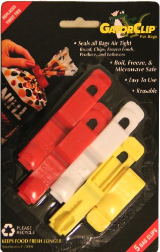 Smartwares Original Gatorclip Bag Clip Twist Tie Replacement, Assorted 2 Red, 1 White and 2 Yellow, 2 inch