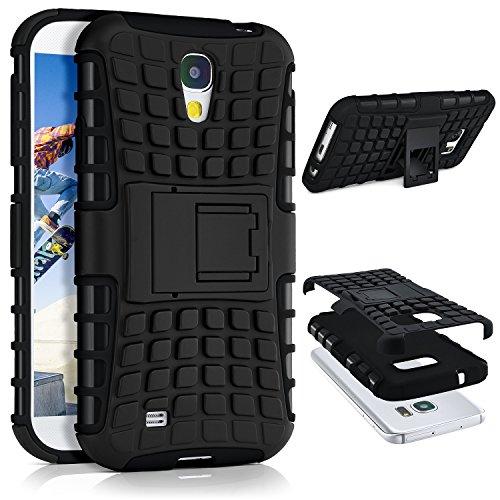 ONEFLOW® Tank Case kompatibel mit Samsung Galaxy S4 Outdoor Hülle | Panzer Handyhülle mit Ständer - 360 Grad Handy Schutz aus Silikon & Kunststoff, Schwarz