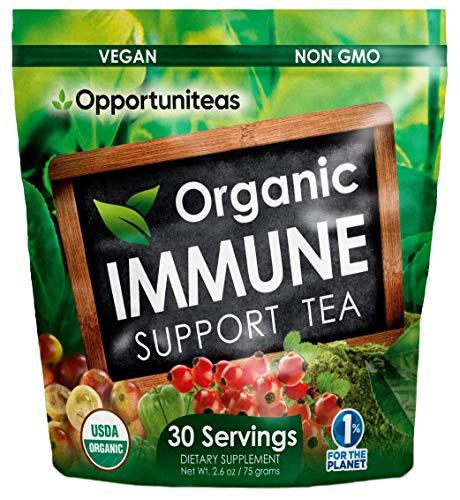 Organic Immune Support Tea - Matcha Green Tea + Rose Hip + Unripe Acerola Cherry + Camu Camu Berry - All Natural Vitamin C Booster & Superfood Drink Mix Supplement - 30 Servings