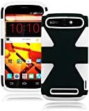 ZTE Warp Sync Phone Case, Bastex Heavy Duty Hybrid Soft White Silicone Cover Hard Black Dynamic Case for ZTE Warp Sync N9515