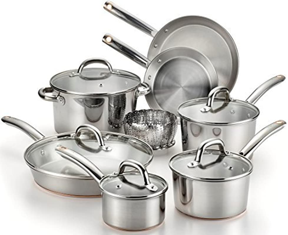 T Fal C836SD Ultimate Stainless Steel Copper Bottom Heavy Gauge Multi Layer Base Cookware Set 13 Piece Silver By T Fal