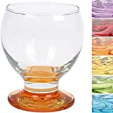 Lav Nectar Coral Glasses Set of 6 with Coloured Base / Drinking Glasses / Juice / Liqueur Glasses (280 ml)