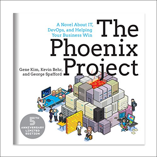 The Phoenix Project     A Novel about IT, DevOps, and Helping Your Business Win 5th Anniversary Edition              Written by:                                                                                                                                 Gene Kim,                                                                                        Kevin Behr,                                                                                        George Spafford                               Narrated by:                                                                                                                                 Chris Ruen                      Length: 14 hrs and 23 mins     105 ratings     Overall 4.7