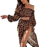 Vestido de playa para mujer, de manga larga, sin tirantes, sexy, de muselina de seda marrón XL