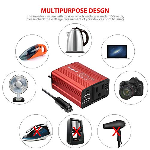 Buy What BW-150 150W Car Power Inverter DC 12V to 110V AC Outlet Converter 3.1A Dual USB Car Charger Adapter(Red)