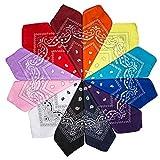 ZWOOS Pañuelos Bandanas de Modelo de Paisley, Pack de 12 Unisex Bandana Multicolor para Hombre y Mujer 55CM * 55 CM