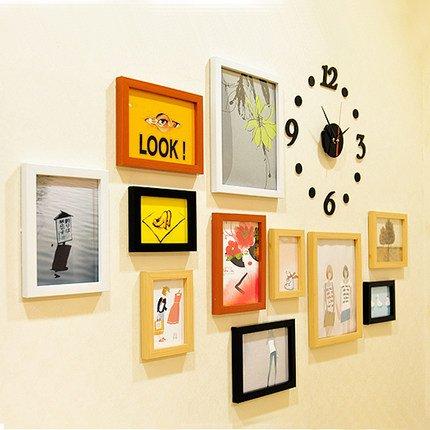 HJKY Photo Frame Wall Set 11 Horloges muur foto frame van creatieve kinderen fotolijst 10 inch 7 inch 5 inch combinatie bruiloft foto fotolijst 11 Een groene lijst + klok 4 kleuren mix-