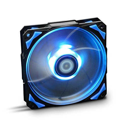 Nox Hummer H-FAN -NXHUMMERF120LB- Ventilador para Caja PC 120mm, LEDs brillantes, 7 aspas traslúcidas, rodamientos hidráulicos, esquinas soporte goma, color azul - negro