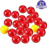 Gejoy 21 Piezas Juego de Canicas de Reemplazo 1 Juego de Bolas de Reemplazo Compatibles con Hipopótamos Hambrientos, 19 Bolas Rojas y 2 Bolas Amarillas