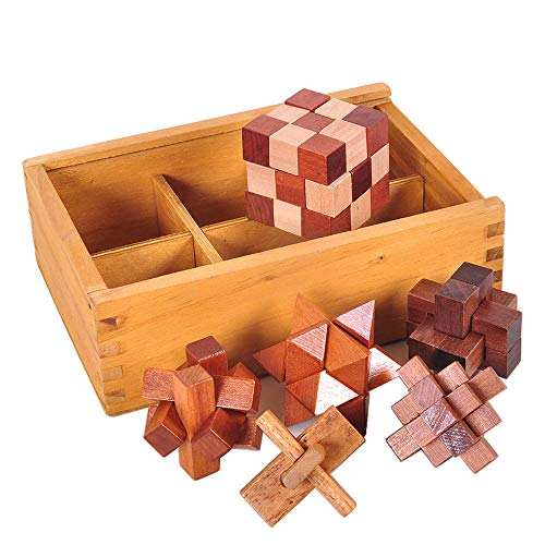 Chonor 6 Pezzi Premium 3D Puzzle Rompicapo in Legno con Scatola di Legno - Classico Kongming Luban Lock Logica Gioco di Cube per Bambini e Adulti - Perfetto Regalo e Idea Decorazione