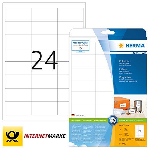 HERMA 5053 Universal Etiketten DIN A4 klein (66 x 33,8 mm, 25 Blatt, Papier, matt) selbstklebend, bedruckbar, permanent haftende Adressaufkleber, 600 Klebeetiketten, weiß