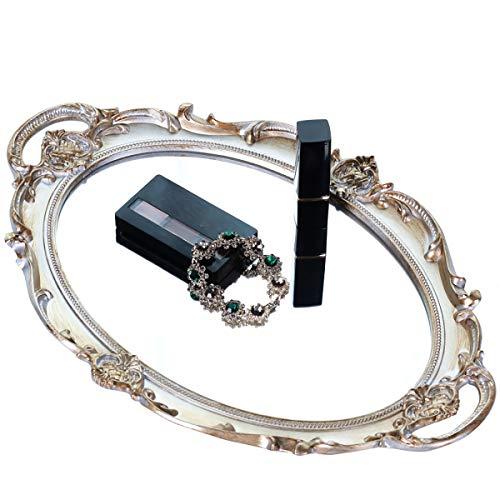 WAZA Bandeja de Almacenamiento con Espejo Almacenamiento de Cosméticos para Presentación Decorativa Vintage Organizador para Joyería Perfume Maquillaje Tocador Baño Dormitorio Hogar (Plata)