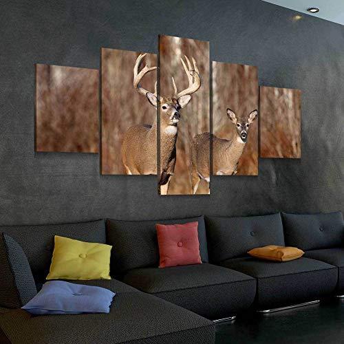 GUANGXING Quadro su Tela Buck And Doe 5 Pezzi 150 * 80Cm Stampa su Tela Quadri su Tela 5 Pannelli Stampe HD Poster Murale Quadri Decorazioni per Casa Moderni Soggiorno XXL