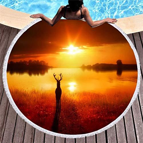 GermYan Toalla de Playa Redonda Toalla de baño de Alce de Dibujos Animados con Borla Animales Toalla comprimida rápida Tapiz Estera de Yoga Toalla de Playa