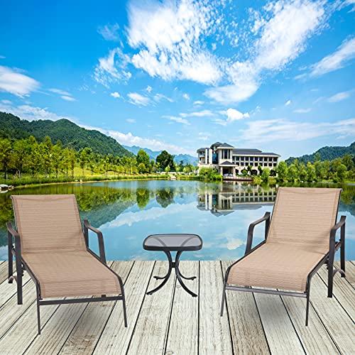 LOKATSE HOME Outdoor Patio Adjustable Metal Chaise...