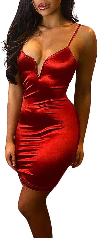 Xinantime Women's Nightclub Sling VNeck Slim Dress Skinny Halter Mini Skirt