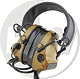 Tomtac Airsoft COMTAC III 3 Headset Mic Boom Radio PELTOR Design Tan Left Right