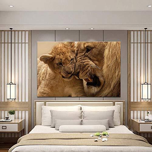 Moderne dierenposter muurkunst canvas schilderij leeuwenpapa als kleine leeuwenafbeelding opdruk woonkamer decoratie zonder lijst