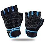 Feleph Weight Lifting Gloves with Wrist Wraps Support Workout Gloves for Men/Women Half Finger Gym Gloves for Fitness, Exercise, Gym Cross Training,Breathable Non-Slip, Strong Grip(Blue, XL)