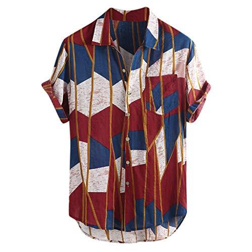 LHWY Camisa de Hombre Tops Shirt 2019 New Mens Multi Color Lump Pecho Bolsillo Manga Corta Dobladillo Redondo Camisas Sueltas Blusa