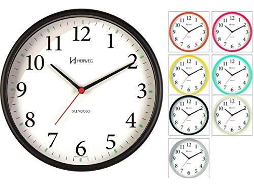 Relógio de Parede Silencioso Contínuo - Analógico - Preto - Herweg