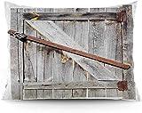 Keyboard cover Funda de cojín con diseño de puerta de granero antiguo, de madera con cruzados, diseño de casa de granero occidental, funda de cojín impresa, 16 x 24 cm