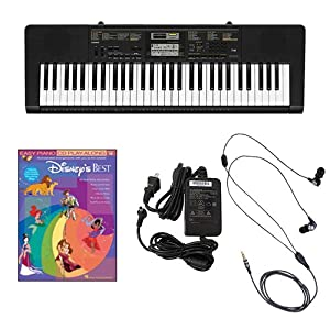Casio CTK2400 61-Key Keyboard Deluxe Package with Casio Keyboard Adapter  Ear Buds & Disney's Best Easy Piano Play Along Book