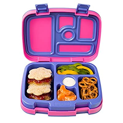 Bentgo Kids Brights ? Leak-Proof, 5-Compartment Bento-Style Kids Lunch Box ? Ideal Portion Sizes for Ages 3 to 7 ? BPA-Free and Food-Safe Materials (Fuchsia)