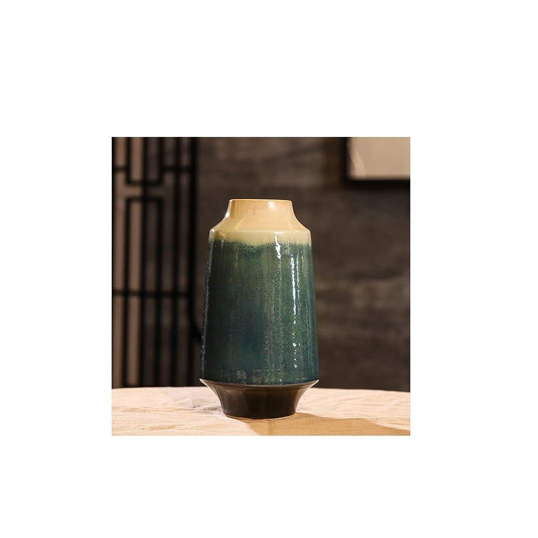 ハンマー規則性地理花器 ルームフラワーアレンジメントの装飾工芸オプションエメラルドグリーンユニークなインテリアデザイン セラミック/ガラス (Size : 8×28×15cm)
