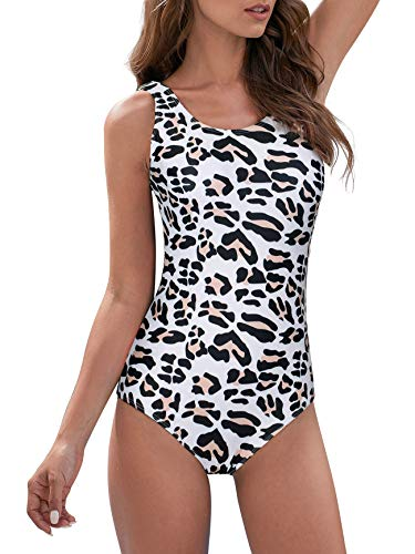 Swimsuits for Womens Bathing Suits for Women High Waisted one Piece Swimsuit Sexy Swimming Bodysuit Leopard XL (fits Like US 12-14)