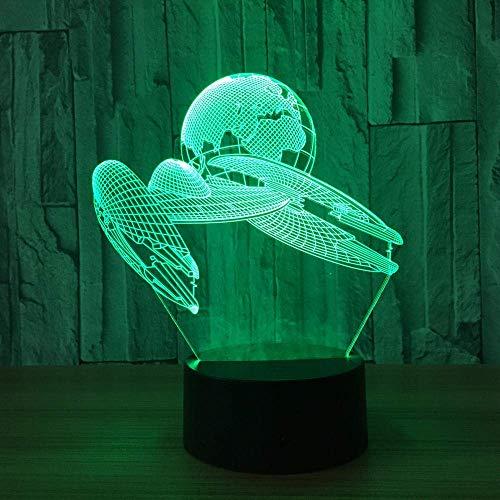 Lámpara de ilusión LED 3D Luz nocturna Nave espacial Mesita de noche óptica Luces nocturnas Iluminación para niños Lámpara para dormir Iluminación 7 botones táctiles que cambian de color 1M Cable