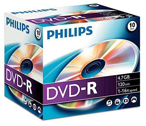 Philips DVD-R Rohlinge (4,7GB Data/ 120 Minuten Video, 16x High Speed Aufnahme, 10er Jewelcase)