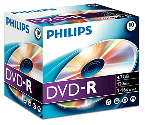 Philips PHOVRG471016JC Boîte de Media Vierge DVD-R 10 Pièces Blanc