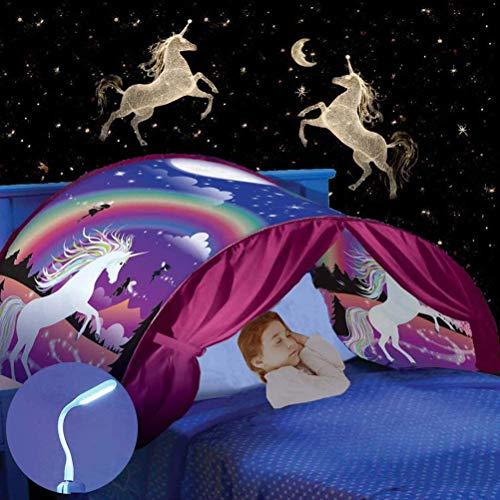 Nifogo Tente de Rêve Tente de Lit Enfants Tente, Playhouse de Tente, Enfant Jouer Tentes Cadeaux de Noël pour Enfants (a- Licorne)