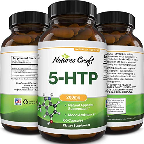 5HTP 200mg Mood Support Supplements - Natural Appetite Suppressant Sleeping Aid for Stress Relief and PMS Support - Brain Booster Mood Stabilizer 5 HTP Mood Boost Supplement to Increase Serotonin
