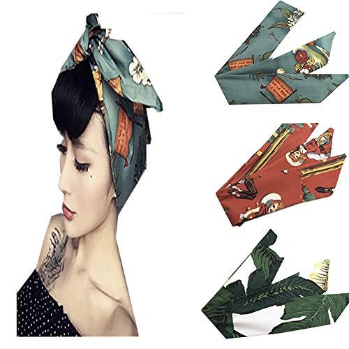3 Pcs Vintage Women Headband Boho Wire Band Cotton Floral Printed Turban Hair Wrap Retro Hairband