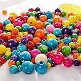 Voarge Perline in legno colorate, per la produzione di braccialetti e collane,  6 mm 8 mm 10 mm, 600 pezzi