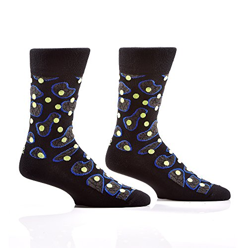 Yo Sox - Under the Microscope (Black) - Funky Men's Crew Socks for Dress or Casual Wear Size 7-12