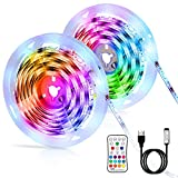Tiras LED 6M, LED RGB SMD 5050 Luces Impermeable con Control Remoto, Tiras LED RGB 5V USB con 4 Modos de Brillo y 16...