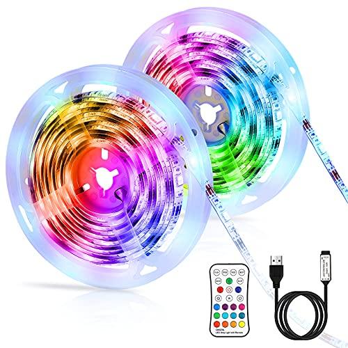 Tiras LED 6M, LED RGB SMD 5050 Luces Impermeable con Control Remoto, Tiras LED RGB 5V USB con 4 Modos de Brillo y 16 Colores para Habitacion, Hogar, Cocina, Fiesta, Boda, Decorativas Habitacion (2x3M)