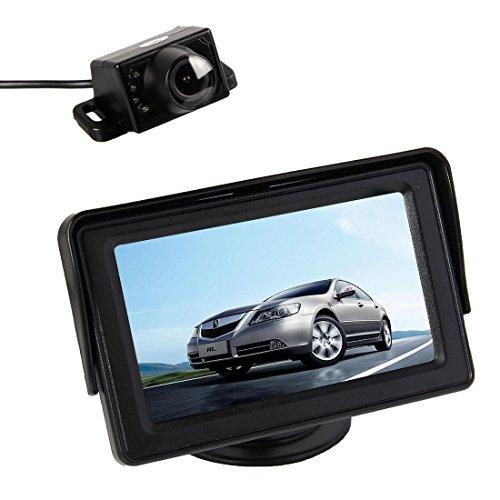 Pathson 4.3 TFT LCD Moniteur+Caméra de Recul Couleur avec Large Angle Vision de 120°et 7 IR Lampes de Nuit Etanche