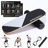 MYLTAWISH Wooden Balance Board Trainer - Wobble Balance Board for Snowboard, Ski, Skateboard, Surfing, Hockey Training & More - Bongo Board Balance Board for Exercise, Core Trainer, Workout, Sportneer