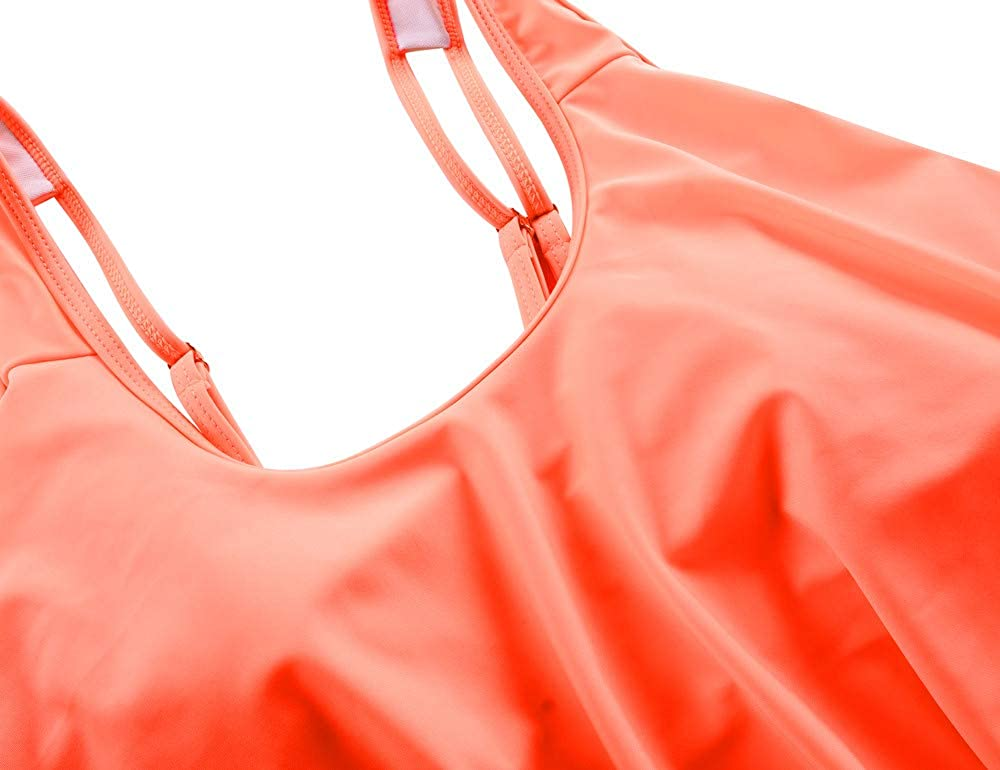 Mycoco Women's High Waist Bikini Crop Flounce Two Piece Swimsuits Flowy Bathing Suit
