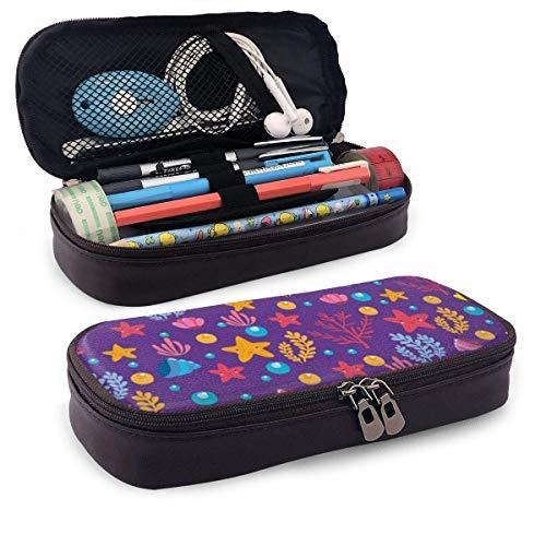 XCNGG Estuche para lápices neceser Sea Elements Starfish Shells PU Leather Pencil Case School Office Use Zipper Stationery Organizer