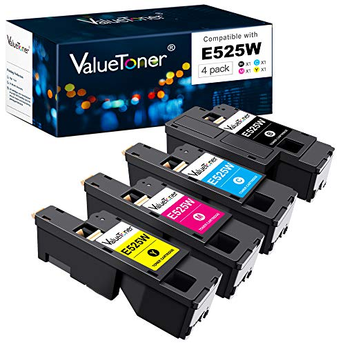 Valuetoner Compatible Toner Cartridge Replacement for Dell E525W E525 525w to use with E525w Wireless Color Printer for 593-BBJX 593-BBJU 593-BBJV 593-BBJW (Black, Cyan, Magenta, Yellow, 4 Pack)