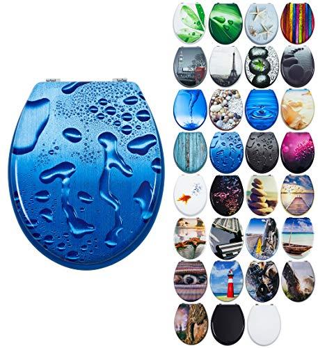 Grafner MDF WC Sitz mit Absenkautomatik viele schöne Motive zur Auswahl - stabile Qualität - einfache Montage WC Deckel Klobrille Softclose (Blue Droplets)