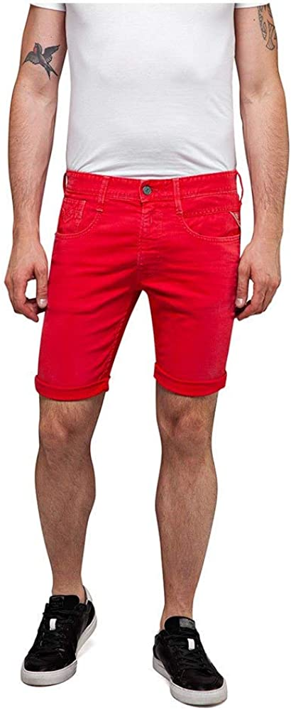 Replay Jeans Slim-Fit Anbass Men's Denim Shorts, Red