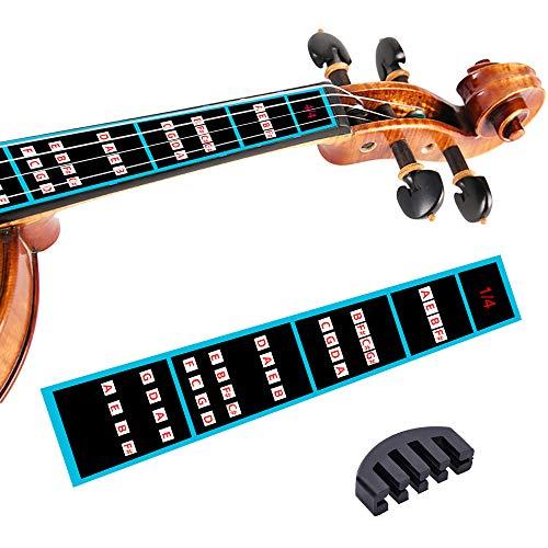 Violin Finger Guide Set - Fingerboard Sticker guide Label Finger Chart with Rubber Mute For All Size Violin 4/4, 3/4, 1/2, 1/4, 1/8, 1/10 (1/4)