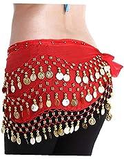 Belly dans kostym kjol chiffong dinglande guldmynt hip scarf wrap bälte passar för magdans